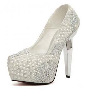 Silver Pearl Rivets High Heels Fash..