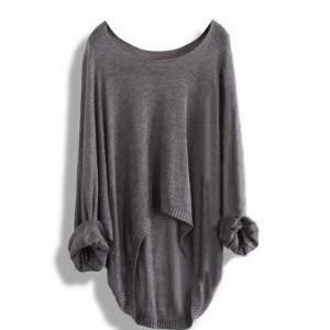 Long-Sleeved Knit Shirt Blouse Holl..