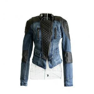 Women Slim Fit Denim Splice Leather..