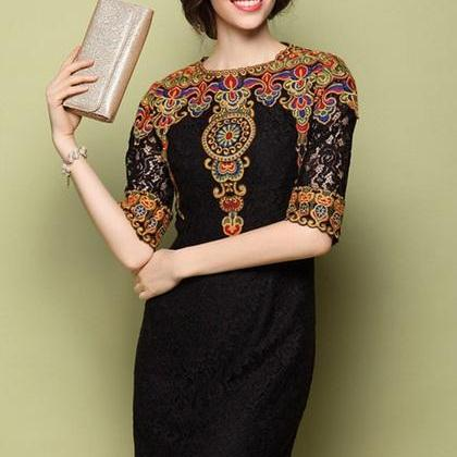 Retro Embroidery Patterns Dress