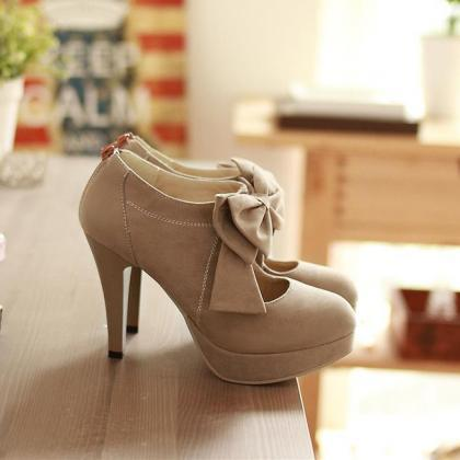Fashion Round Closed Toe Front Bow ..
