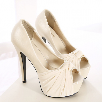 Bowknot Peep Toe High Stiletto Heel..
