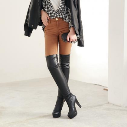 Autumn Winter PU Leather Fashion Hi..
