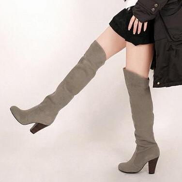 Qiu dong long knee-high boots, thic..