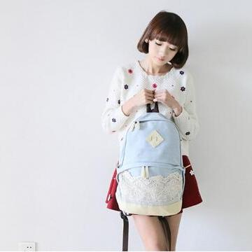 Pretty Denim Backpack Bag With Lace..