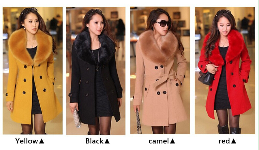a1a2601ee6436 2014 winter women s Double Breasted big fur collar Plus Size Wool Coat long  Winter Jackets parka
