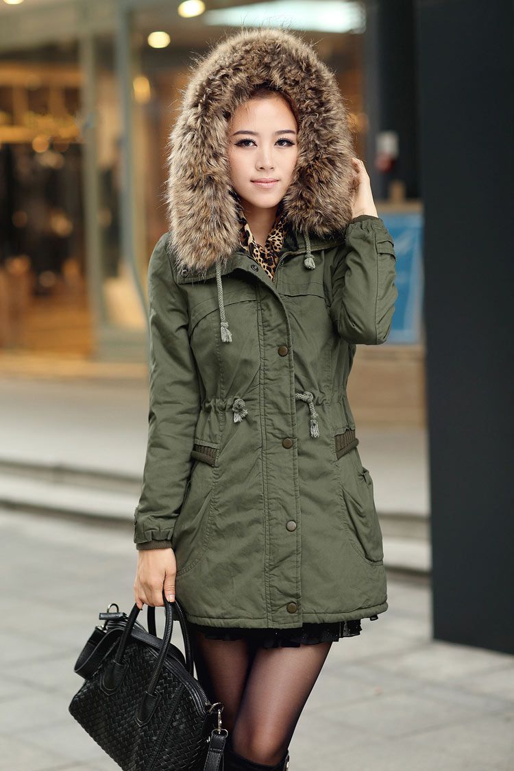 Ladies green fur lined parka