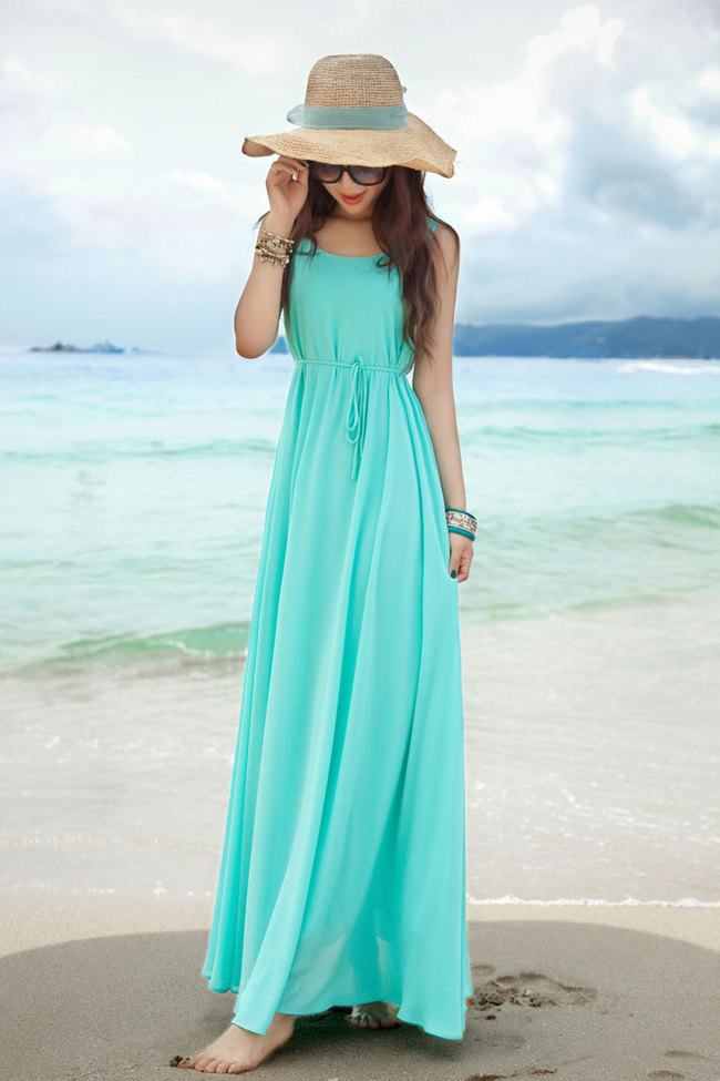 sexy girl beach wear solid color gowns sleeveless round