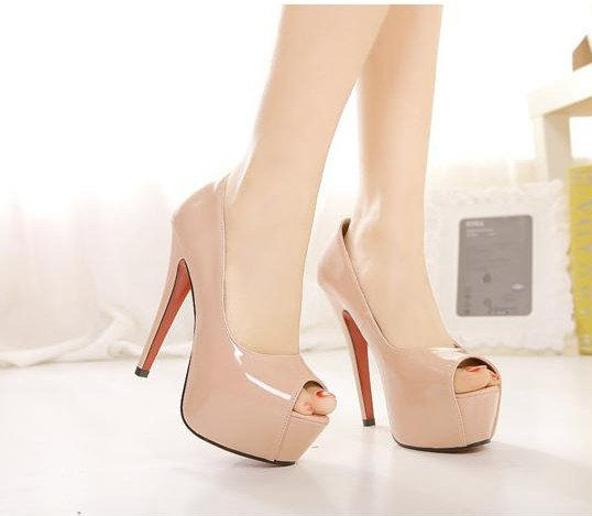 best place for best selection of new arrive Sexy Nude Peep Toe High Heel Pumps