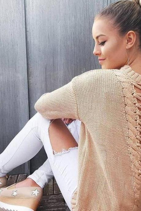 Lace-Up Plunge V Back Knitted Crew Neck Long Sleeves Sweater