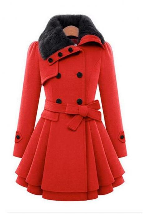 Women's self-cultivation long coat woolen coat double-breasted thickened coat