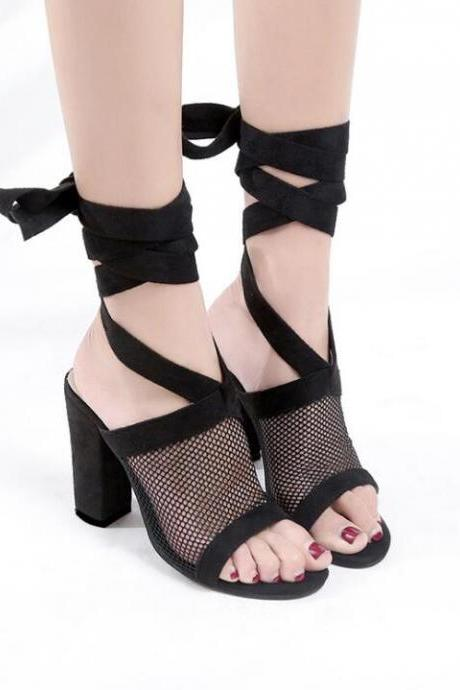 Mesh Open Toe Chunky High Heel Self-Tie Wrap Around Straps