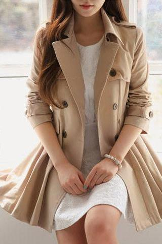 Stylish Double Breasted Winter Coat In Khaki ZDO67DZZ1H46MTK54DJ7C LMZQXSLADHD