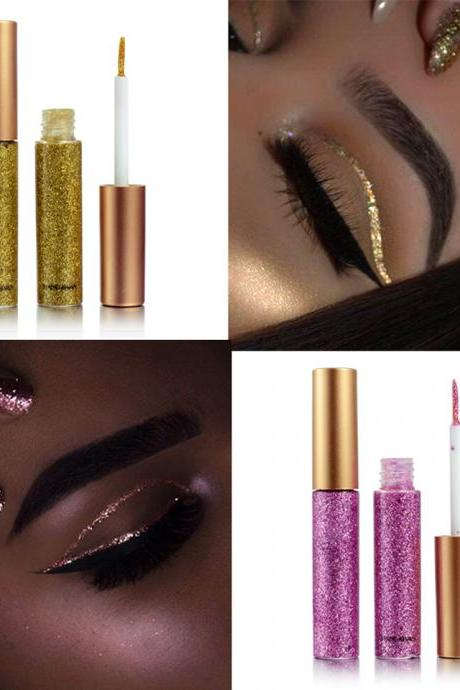 2018 New Glitter Eyes Make Up Liner For Women Easy to Wear Waterproof Pigmented Red White Gold Liquid Eyeliner Glitter Makeup