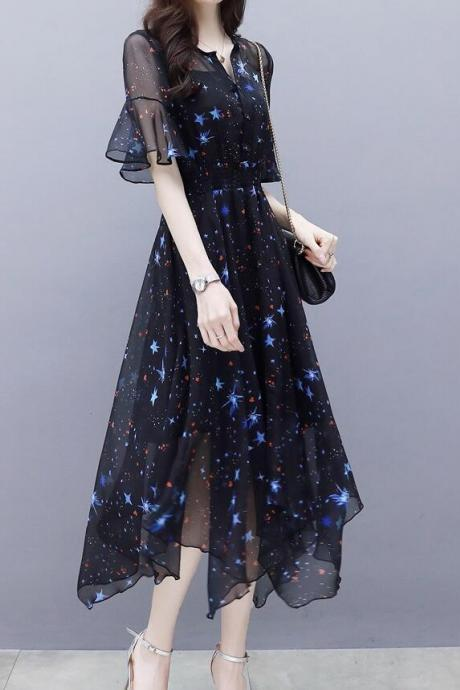 New Slim In Long Skirt Flared Sleeve Irregular Temperament Lady Print Chiffon Dress