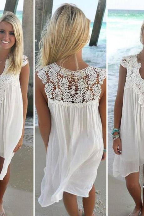 Summer lace stitching chiffon loose dress