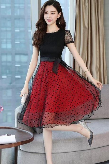 New Chiffon Lace Lace Dress 2018 Summer Slim Thin Waist A Dress