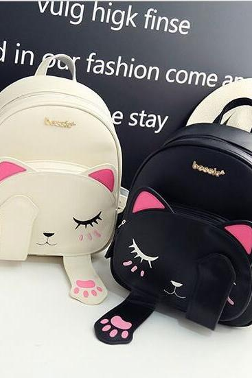 Korean version of the cat shoulder bag female college wind wild casual student bag cartoon travel backpack