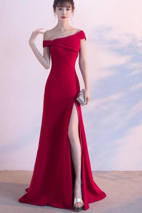 2018 new side split fishtail long red party evening dress