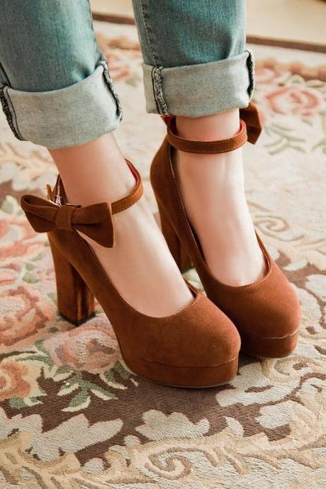Cute Bow knot Ankle Strap Platform Shoes in 3 Colors