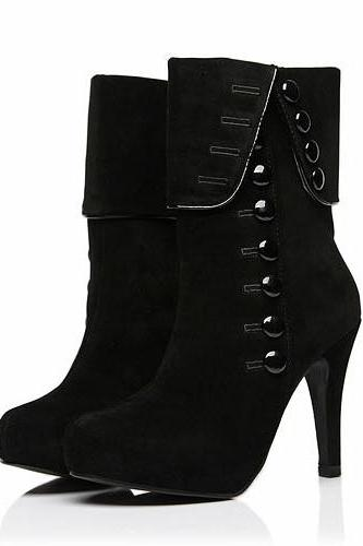 Chic Black Stiletto Heel Rivets Boots