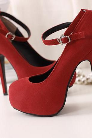 Round Toe Platform Ankle Strap Suede Red High Heels
