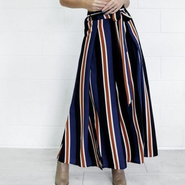Striped Knit Vacation Sexy Wide Leg Pants