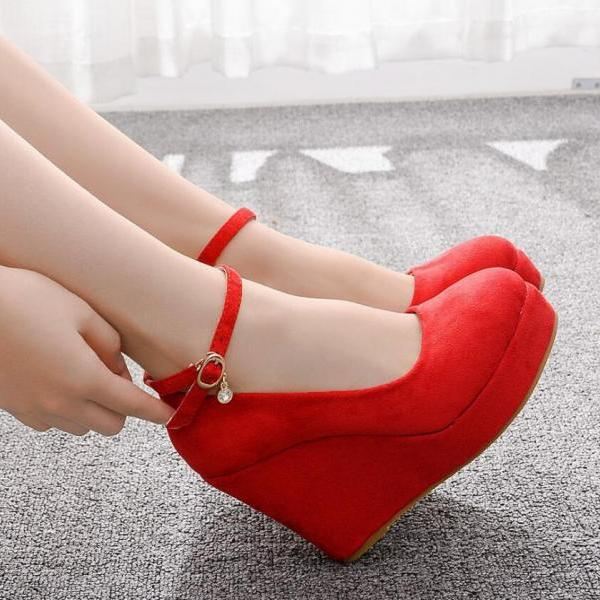 Round-toe waterproof platform single shoes one-word wristband suede high heels