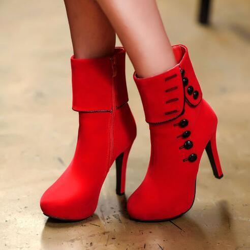 35-43 large size Europe and the United States suede high-heeled boots red boots