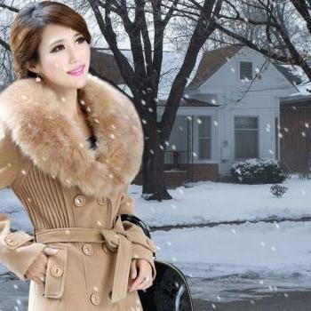Free Shipping! Khaki Jacket With Fox Fur Winter Fox Fur Jacket- Gorgeous Khaki Winter Jacket
