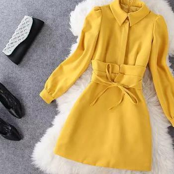 Vogue of new fund of 2014 autumn temperament yellow stitching long-sleeved doll dress