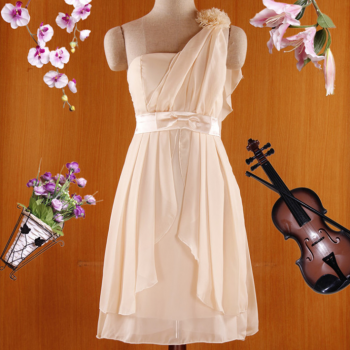 The New Short Slim Chiffon Shoulder Small Dress, Bridesmaid Dress