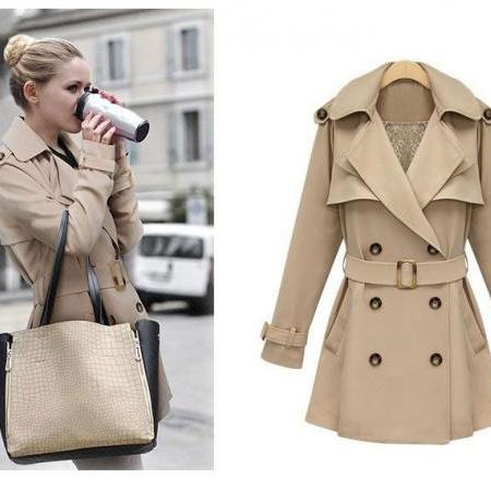Double Breasted Lapel Medium-Length Trench Coat