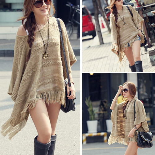 Chic Tassels Bat Sleeve Hollow Out Knitting Cloak