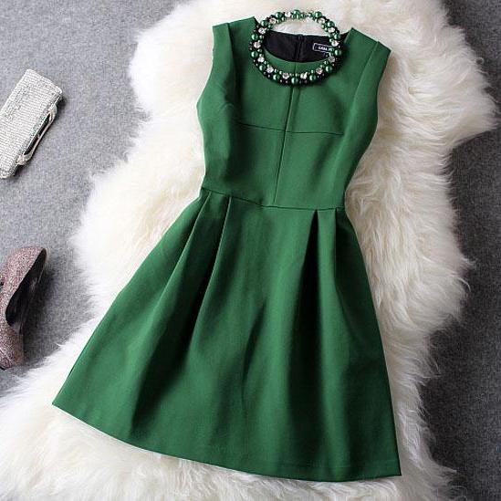 New Unique Fresh Green With Beading Party Dress(Gift Necklace)