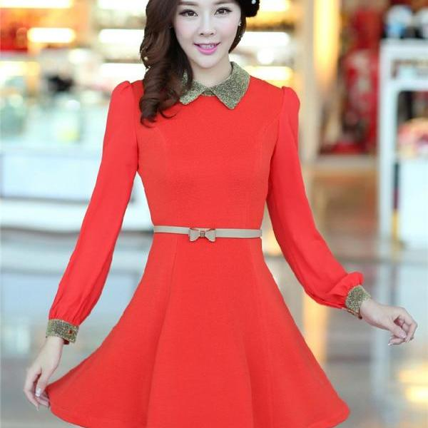 Fashion Autumn Winter Dress Long-Sleeve Sweet Dress With Belt - Orange Red