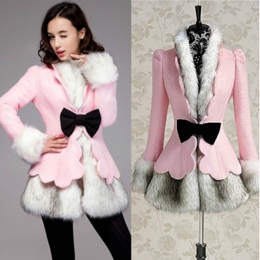 Fashion V Neck Long Sleeve Single Breasted Regular Wool Coat