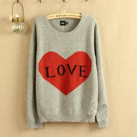 Grey Love Letters Show Thin Backing Pullovers Sweater
