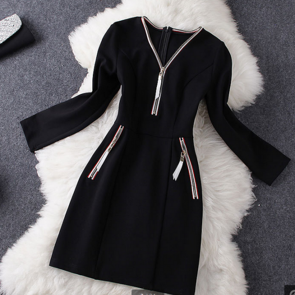 Early fall 2014 new long-sleeved solid color dress neckline zipper in black
