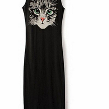 Summer new cat face printed vest dress
