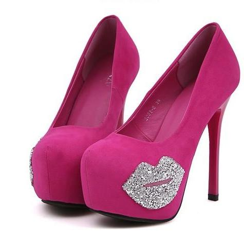 Sexy Diamante Rose Pink And Black High Heel Pumps
