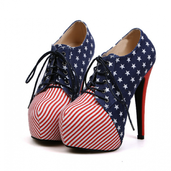 Sexy Stars And Stripes Platform High Heel Shoes