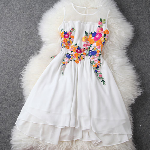 New Unique Embroidery Irregular Chiffon Dress