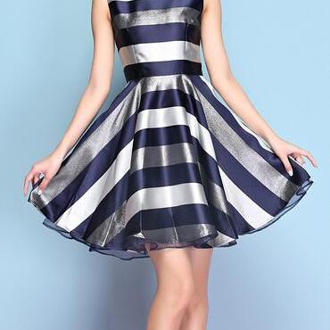 Elegant Temperament Stripe Sleeveless Dresses