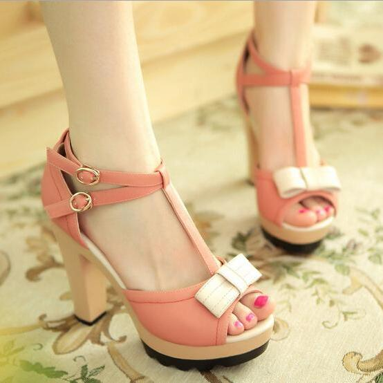 Lovely Bowknot Fish Mouth Sandals
