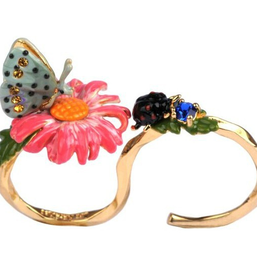 Butterfly flower personality adjustable ring