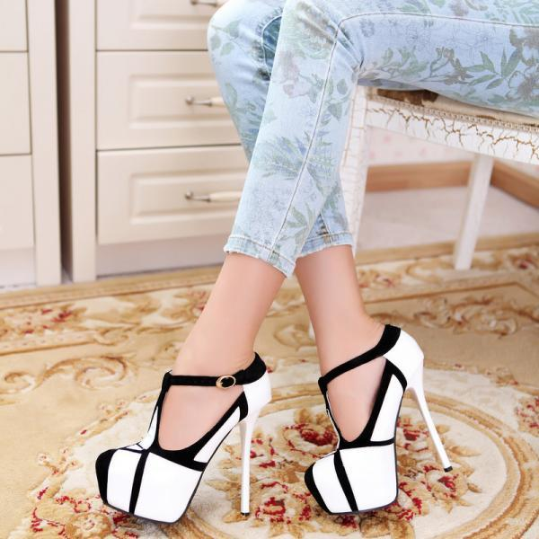 Black And White Women High Heels