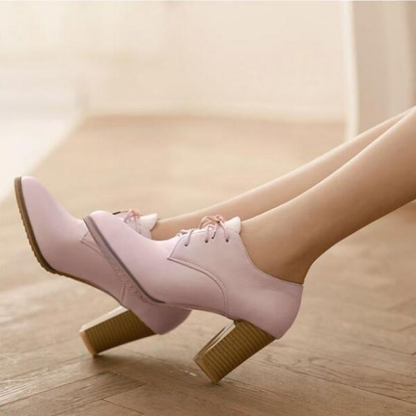 Adorable Pastel Lace Up Chunky Heel Boots