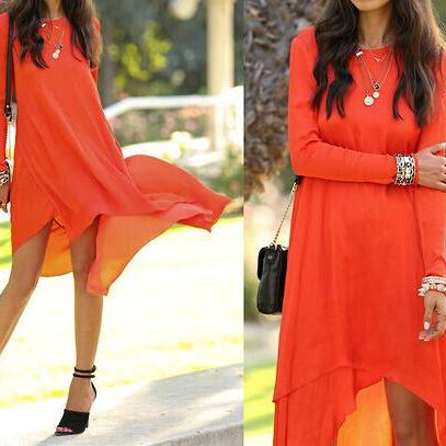 Irregular chiffon fashion dress