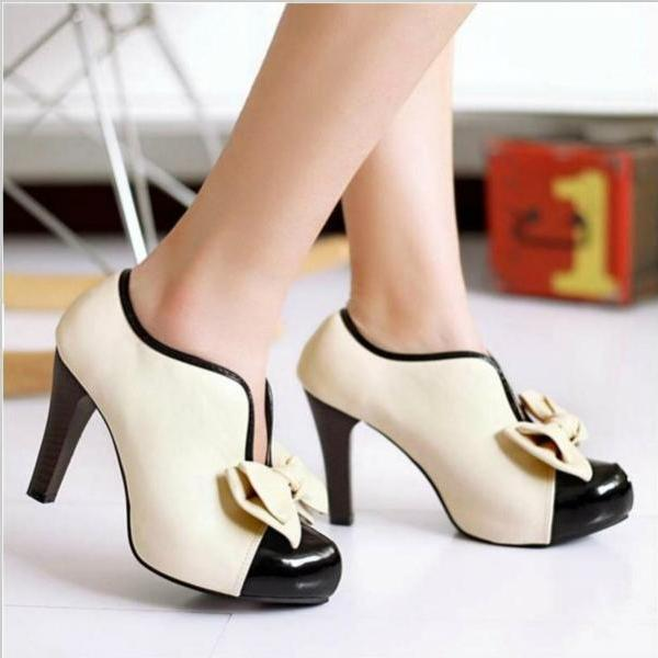 Adorable Bow Design High Heel Shoes in Beige
